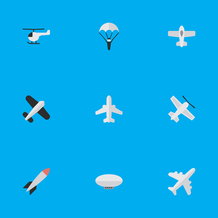 Vector Illustration Set Of Simple Plane Icons. Elements Copter, Balloons, Bomb And Other Synonyms Copter, Airship And Airplane.