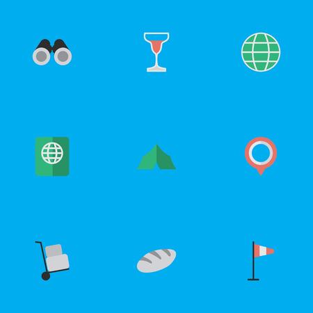 벡터 일러스트 레이 션 간단한 여행 아이콘의 집합입니다. 요소 캠핑, 와인, 세계 및 기타 동의어 플래그, 여권 및 세계.