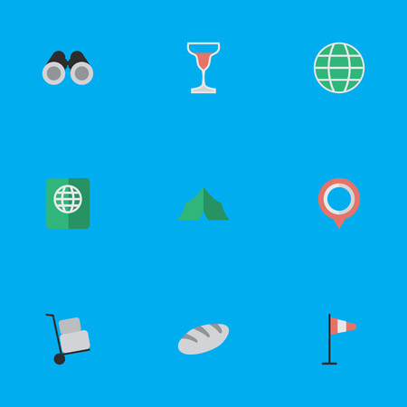 Vector Illustration Set Of Simple Travel Icons. Elements Camping, Wine, World And Other Synonyms Flag, Passport And World.