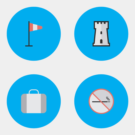 Vector Illustration Set Of Simple Travel Icons. Elements Tower, Smoke Forbidden, Flag And Other Synonyms No, Tower And Forbidden. Illustration