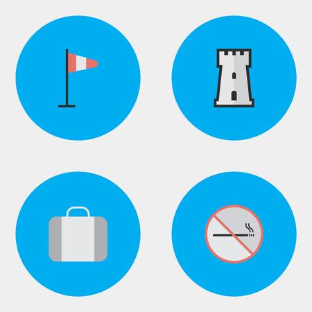Vector Illustratie Set Van Eenvoudige Reis Pictogrammen. Elementen Toren, Rook Verboden, Vlag En Andere Synoniemen Nee, Toren En Verboden. Stock Illustratie