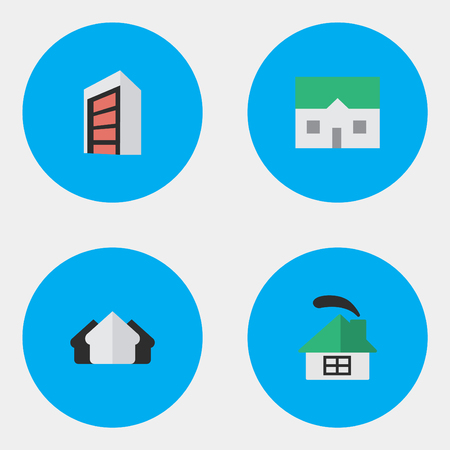 Vector Illustration Set Of Simple Estate Icons. Elements Property, House, Construction And Other Synonyms Estate, Property And Construction.