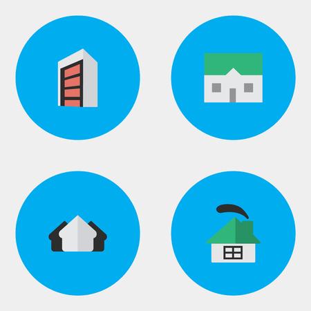 Vektor-Illustrations-Satz einfache Zustand-Ikonen. Elements Property, House, Construction und andere Synonyme Estate, Property And Construction. Standard-Bild - 83529142