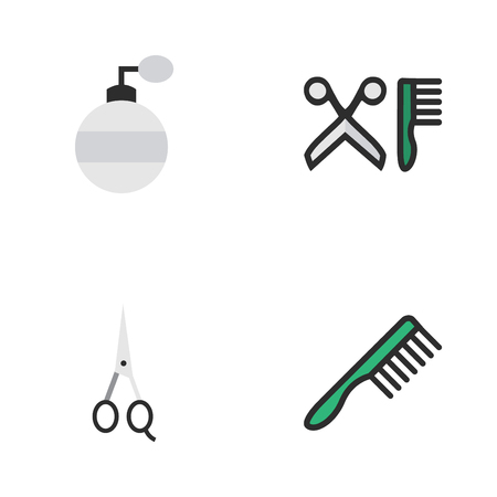 Vector Illustration Set Of Simple Shop Icons. Elements Fragrance, Scissors, Hairbrush And Other Synonyms Comb, Clippers And Fragrance.