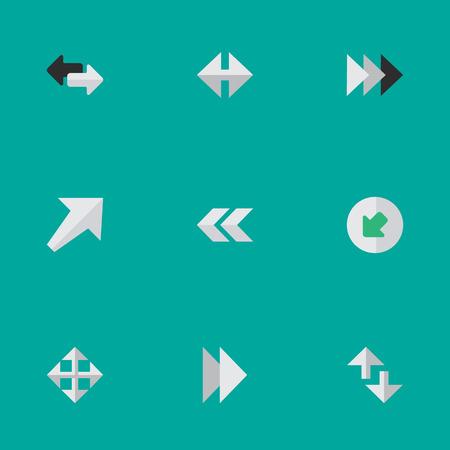 벡터 일러스트 레이 션 간단한 표시기 아이콘의 집합입니다. 뒤, 북서쪽, 전방 및 다른 동의어 수출, 크기 조정 및 이후 요소. 일러스트