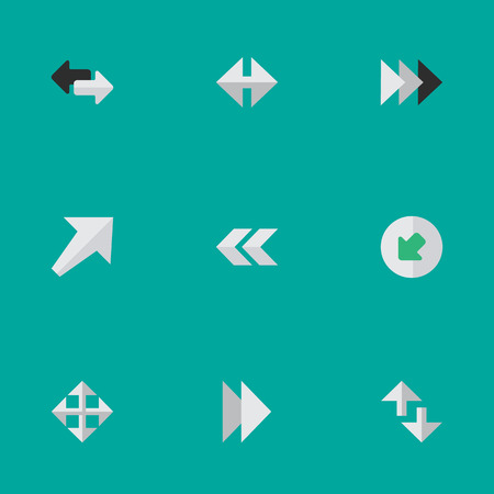 Vector Illustration Set Of Simple Indicator Icons. Elements Back, Northwestward, Onward And Other Synonyms Export, Resize And Onward.