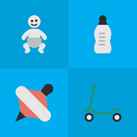 Vector Illustration Set Of Simple Infant Icons. Elements Kick, Vial, Yule And Other Synonyms Yule, Baby And Scooter. Illustration