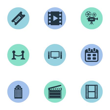 Illustration vectorielle définie des icônes de cinéma simples. Elements Reel, Caméra vidéo, Billet de négatifs et autres synonymes, Vidéo et Film fixe. Banque d'images - 83529151