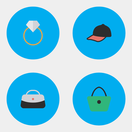 Vector Illustration Set Of Simple Equipment Icons. Elements Woman Bag, Handbag, Engagement Synonyms Engagement, Hat And Handbag.