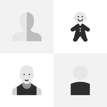 gender identity: Vector Illustration Set Of Simple Person Icons. Elements Guy, Profile, Man And Other Synonyms Man, Shape And Male. Illustration
