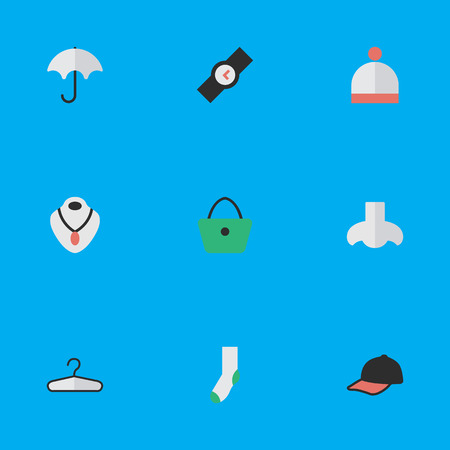 Vector Illustration Set Of Simple Accessories Icons. Elements Jewelry, Sock, Parasol And Other Synonyms Foot, Nose And Time. Illustration