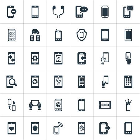 벡터 일러스트 레이 션 간단한 모바일 아이콘의 집합입니다. 요소 동기화, 청력, 누락 된 반지 및 기타 동의어 통신, 기술 및 들어오는.