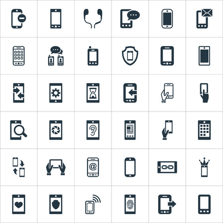 Vector illustratie Set van eenvoudige mobiele pictogrammen. Elementen Synchronisatie, Gehoor, Ontbrekende Ring en Andere Synoniemen Communicatie, Technologie en Inkomend. Stockfoto - 83529157