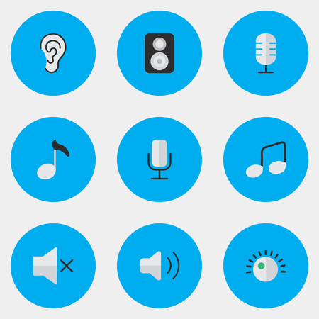 Vector Illustration Set Of Simple Melody Icons. Elements Speaker, Listen, Music Sign And Other Synonyms Speaker, Note And Mute. Illustration