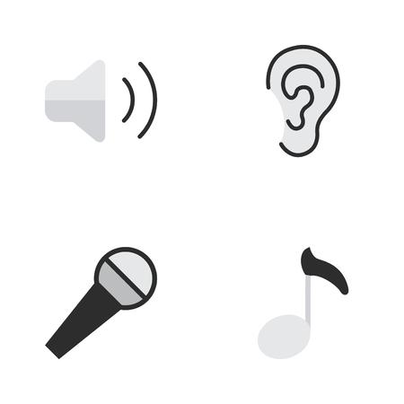 単純なメロディーのアイコンのベクトル イラスト セット。要素に注意してください、マイク、ラウドネスと類義語音の大きさ他、マイク、耳します