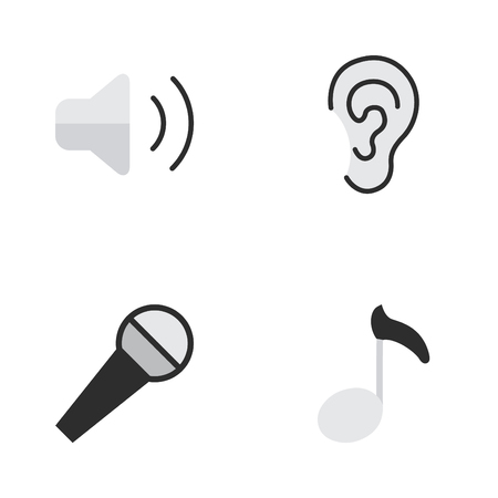 Vectorillustratiereeks Eenvoudige Melodiepictogrammen. Elements Note, Mike, Loudness And Other Synoniemen Loudness, Mike And Ear. Stock Illustratie