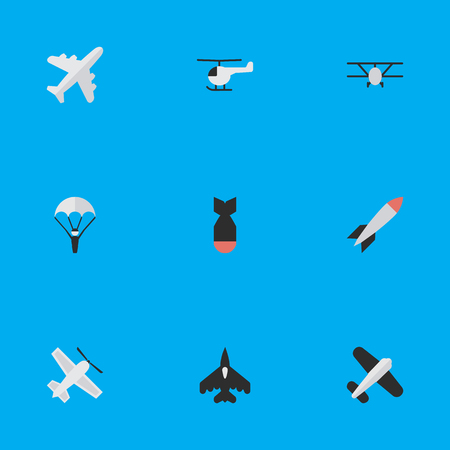 Vector Illustration Set Of Simple Plane Icons. Elements Aircraft, Rocket, Aviation And Other Synonyms Aviation, Airplane And Copter.