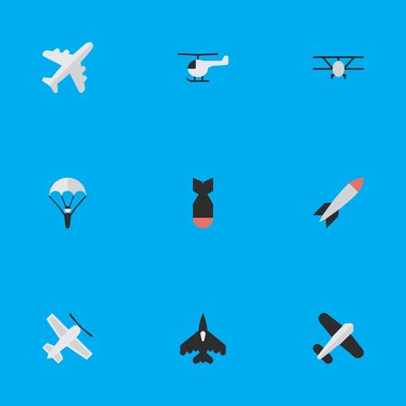Vektor-Illustrations-Satz einfache flache Ikonen. Elemente Flugzeuge, Rakete, Luftfahrt und andere Synonyme Luftfahrt, Flugzeug und Hubschrauber. Standard-Bild - 83529163
