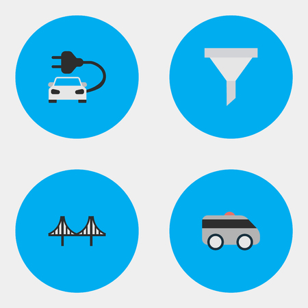 Vector Illustration Set Of Simple Traffic Icons. Elements Bridgework, Charge, Armored And Other Synonyms Bridgework, Strainer And Artillery.