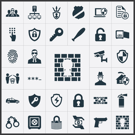 Vector Illustration Set Of Simple Secure Icons. Elements Protected Document, Guard, Closed Lock And Other Synonyms Camera, Jail And Shield. Illustration