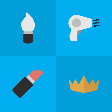 Vector Illustration Set Of Simple Glamour Icons. Elements Scrub, Pomade, Blow-Dryer And Other Synonyms Scrub, Crown And Cosmetic.
