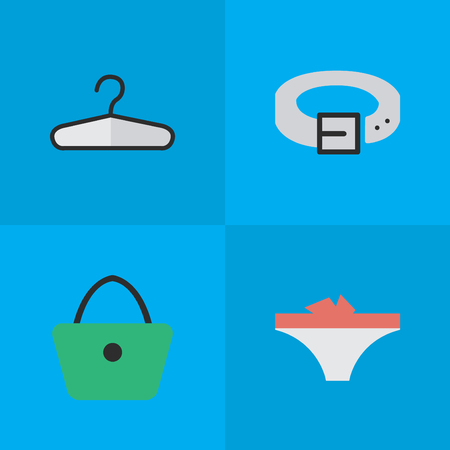 Vector Illustration Set Of Simple Equipment Icons. Elements Woman Bag, Lingerie, Clothes Hook And Other Synonyms Waist, Panties And Underwear.