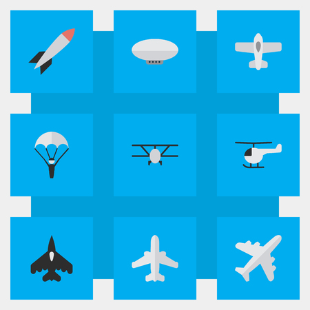 Vector Illustration Set Of Simple Plane Icons. Elements Airplane, Copter, Catapults And Other Synonyms Craft, Airplane And Chopper.