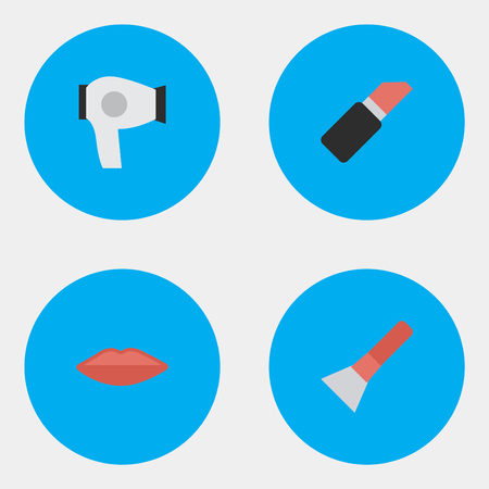 Vector Illustration Set Of Simple Glamour Icons. Elements Brush, Drying Machine, Pomade And Other Synonyms Hairdryer And Pomade.