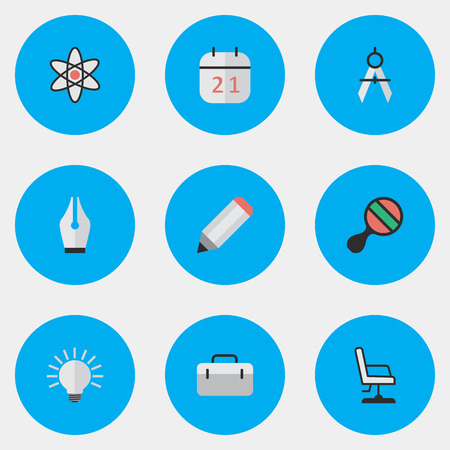Vector Illustration Set Of Simple Education Icons. Elements Measurement Dividers, Date Block, Briefcase And Other Synonyms Ping, Date And Chair. Illustration