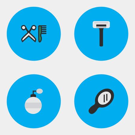 벡터 일러스트 레이 션 간단한 쇼핑 아이콘의 집합입니다. 요소 유리, 빗, 면도기 및 기타 동의어 면도기, 유리 및 빗.