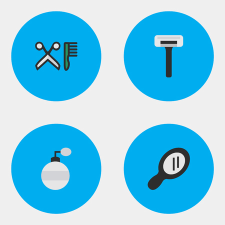 Vector Illustration Set Of Simple Shop Icons. Elements Glass, Comb, Shaver And Other Synonyms Shaver, Glass And Comb.