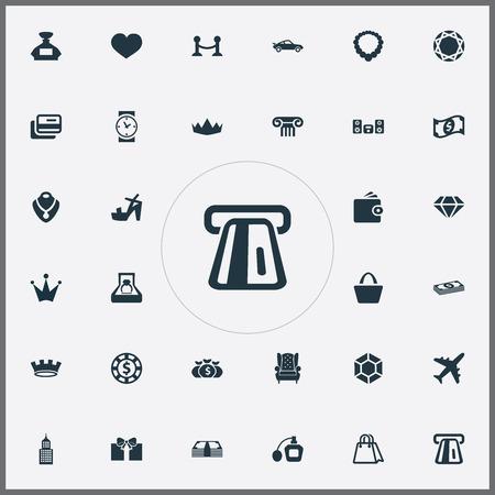 Vector illustratie Set van eenvoudige luxe iconen. Elementen Fence, Money, Purse And Other Synoniemen Watch, Bow en Marriage. Stock Illustratie