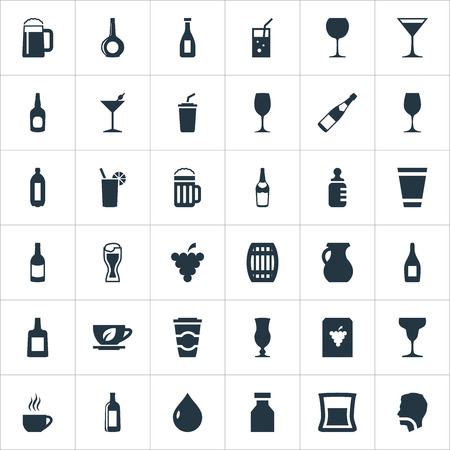 Vector Illustration Set Of Simple Beverage Icons. Elements Ketchup, Liquid, Infant Nutrition And Other Synonyms Hydration, Liquid And Cappuchino.