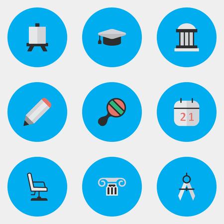 簡単な教育アイコンのベクター イラスト セット。要素イーゼル、測定の仕切り、大学および他の類義語列オフィスと卓球。  イラスト・ベクター素材