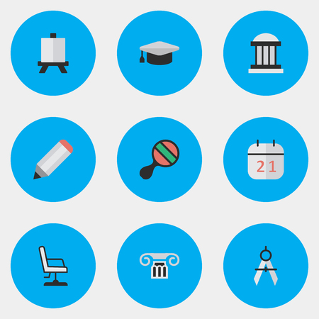 Vector Illustration Set Of Simple Education Icons. Elements Easel, Measurement Dividers, University And Other Synonyms Column, Office And Pong.