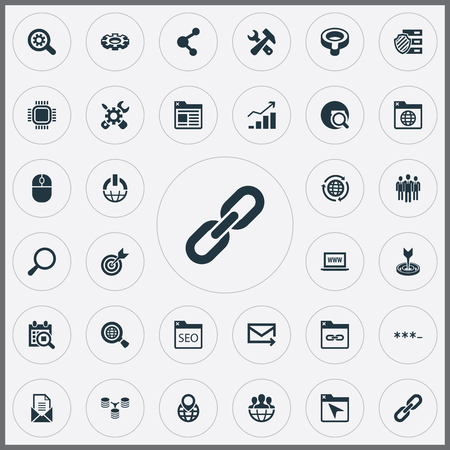 Vector Illustration Set Of Simple Optimization Icons. Elements Linkage, Motherboard, Navigation And Other Synonyms Logistic, Scan And Bind.