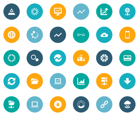 Vector Illustration Set Of Simple Analysis Icons. Elements Data Sending, Dossier, Graphic And Other Synonyms Data, Arrow And Financial. Çizim