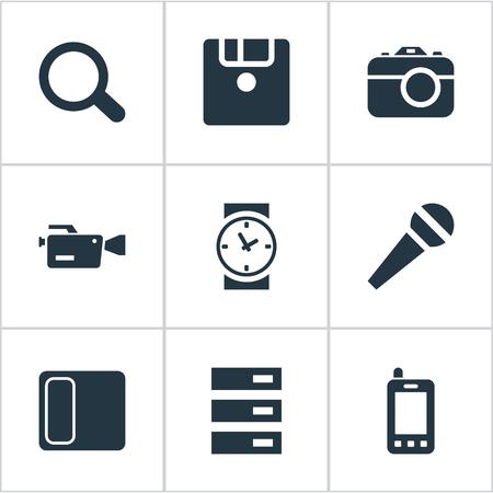 벡터 일러스트 레이 션 간단한 디지털 아이콘의 세트입니다. 요소 가라오케, 연락처, 하드웨어 및 기타 동의어 핸드폰, 노래방 및 반사.
