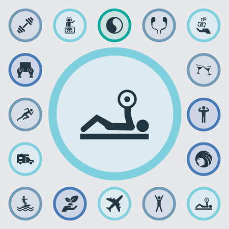Vector Illustration Set Of Simple Health Icons. Elements Surfer, Travel Home, Hairstyle And Other Synonyms Ocean, Van And Plane.