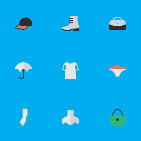 벡터 일러스트 레이 션 간단한 장비 아이콘의 집합입니다. 요소 스포츠 모자, 냄새, 여자 가방 및 다른 동의어 신발, 모자 및 구두입니다.