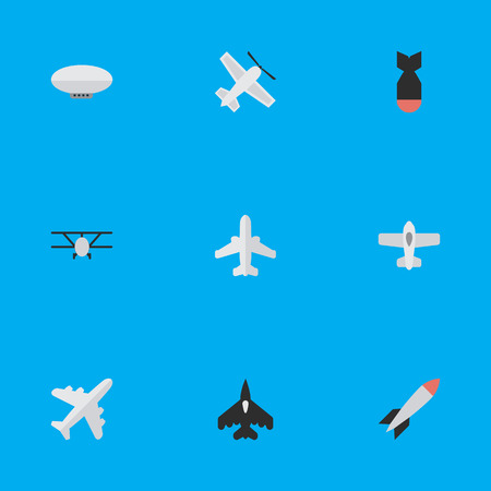 Vector Illustration Set Of Simple Aircraft Icons. Elements Airplane, Rocket, Plane And Other Synonyms Plane, Airship And Bomb. Çizim