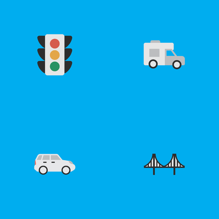 Vector Illustration Set Of Simple Shipping Icons. Elements Bridgework, Suv, Traffic Lights And Other Synonyms Auto, Traffic And Caravan. Illustration
