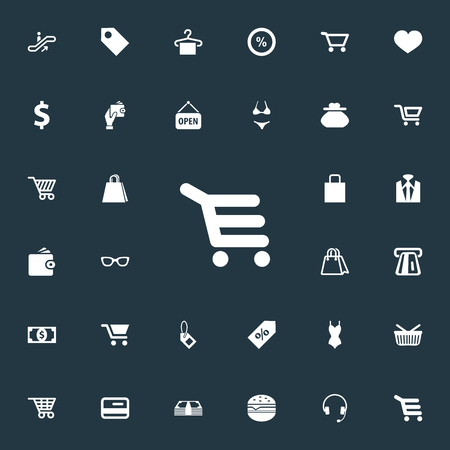 gift basket: Vector Illustration Set Of Simple Sale Icons. Elements Rack, Grocery, Love And Other Synonyms Butty, Exchange And Glass.