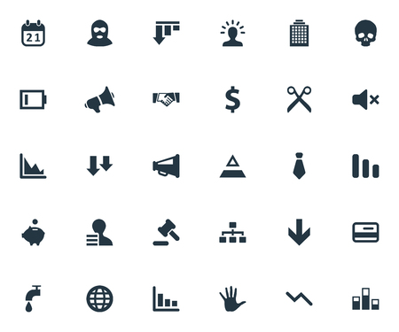 Vector Illustration Set Of Simple Impasse Icons. Elements Bar Graph, Head Bone, Wealth And Other Synonyms Money, Colums And Net.