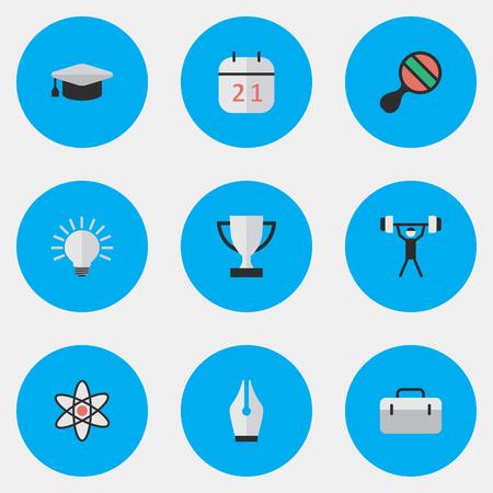 簡単な教育アイコンのベクター イラスト セット。要素のペン先、ラケット、ブリーフケース、他類義語原子インクおよび年鑑。