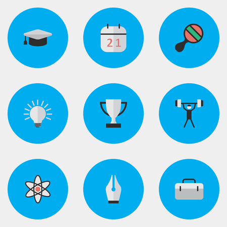 Vector Illustration Set Of Simple Education Icons. Elements Nib, Racket, Briefcase And Other Synonyms Atom, Ink And Almanac.