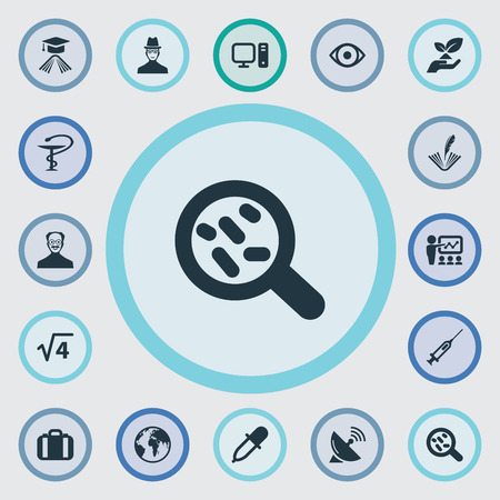 Illustration vectorielle définie des icônes de connaissances simples. Éléments Poésie, Présentation, Antenne Plat Et Autres Synonymes Pharmacie, Planète Et Investigateur Banque d'images - 83529205
