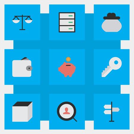 単純なビジネス アイコンのベクター イラスト セット。要素を開く、正義、貯金箱、他の同義語の金キーし、ロックします。
