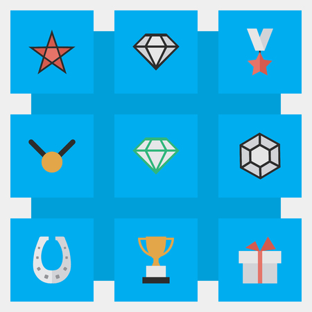 Vector Illustration Set Of Simple Champion Icons. Elements Diamond, Goblet, Trophy And Other Synonyms Trophy, Medal And Award.