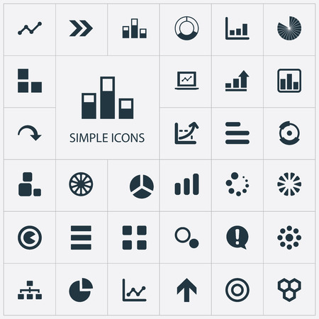 Vector Illustration Set Of Simple Diagram Icons. Elements Cycle, Segment, Circle Diagram And Other Synonyms Part, Graph And Collapse. Illustration